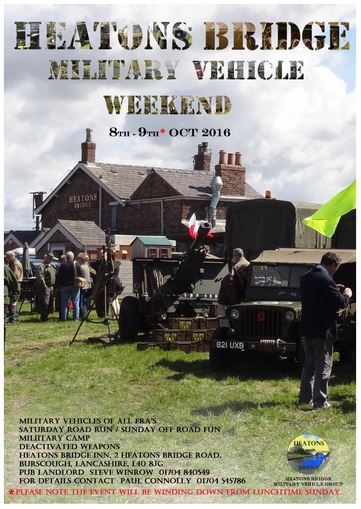 The big guns will be out for charity soon at a popular Scarisbrick pub at the Heaton's Bridge military weekend.     All manner of military vehicles will be on display at the free event at the Heaton's Bridge Inn on October 8th and 9th which winds down from Sunday lunchtime.