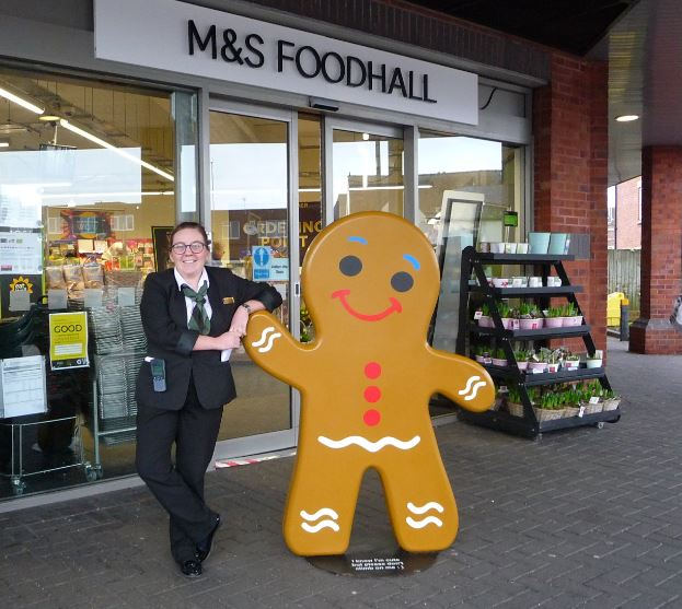 Report from Dave Mutch    On Saturday 7th January the 'Gingerbread Man' moved to his new home at Ormskirk's Marks and Spencer's Foodhall.        The cheeky chappy is pictured this morning with Louisa Taylor, one of the food managers at the store and took up his new residence after spending...