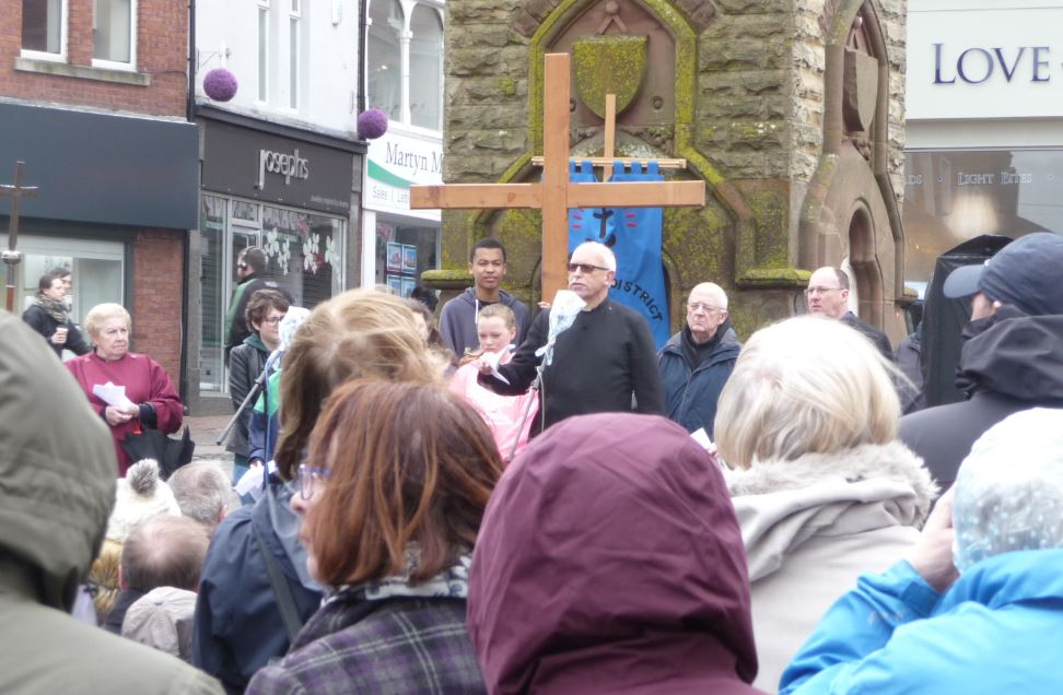 Canon Ross Moughtin of Christ Church, Aughton lifted Good Friday's gloomy weather with a timely message of the cross as Ormskirk Churches Together celebrated in Ormskirk town centre.