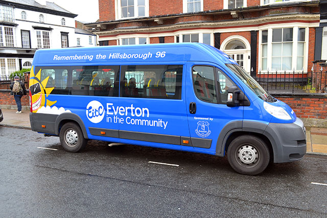 "A group of disabled people enjoying a day out in Southport as part of the Everton In The Community project had their minibus  ticketed by a heartless Traffic Warden today.    Parked on the Promenade and displaying a disabled badge and having the words ""REMEMBERING THE HILLSBOROUGH 96"" prominently..."