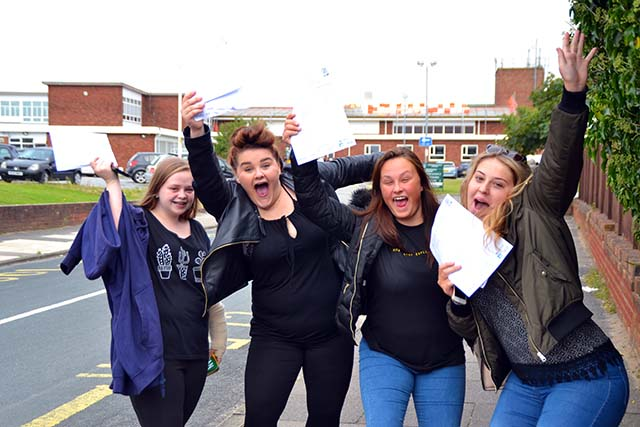 """Students across Southport received their GCSE results this morning and like the Greenbank students pictured below there were some happy faces.        Mr Ian Raikes, Headteacher of Greenbank High School was exuberant with another set of excellent results. He said """"I am delighted with the exceptional..."""