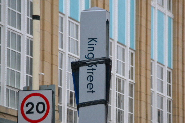 """The large sign erected at great expense to show people where Southport's """"Market Quarter"""" is has been taped up with gaffa tape for over six months now.The signs were erected in August 2013.    Nobody seems to care that it looks awful and not in keeping with Southport's """"Classic Resort """"image."""