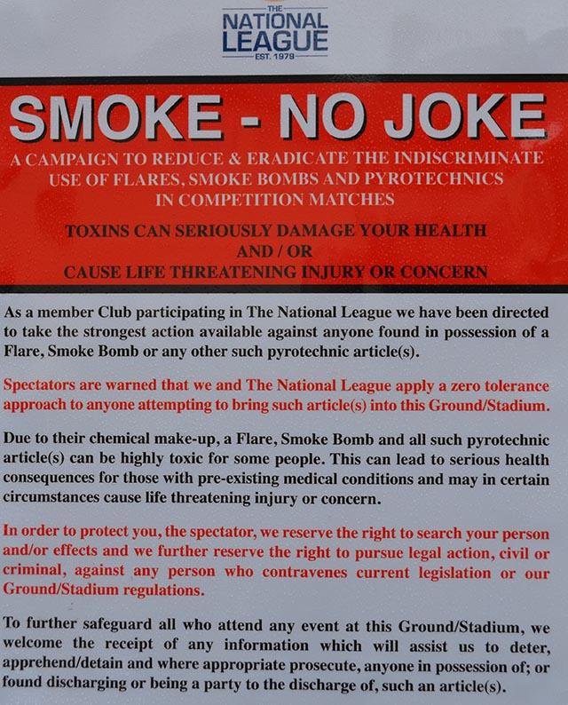 Smoke No Joke At Southport FC
