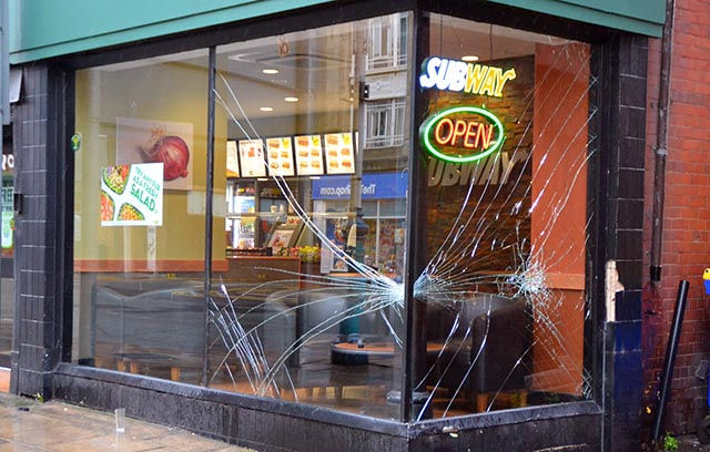 Two windows at the Subway store on Eastbank Street have been smashed after a vehicle reversing down the rear entrance to the Vincent Hotel clipped the window frame causing the glass to shatter.            In June a similar incident occurred when a truck hit the veranda at June the Florist.