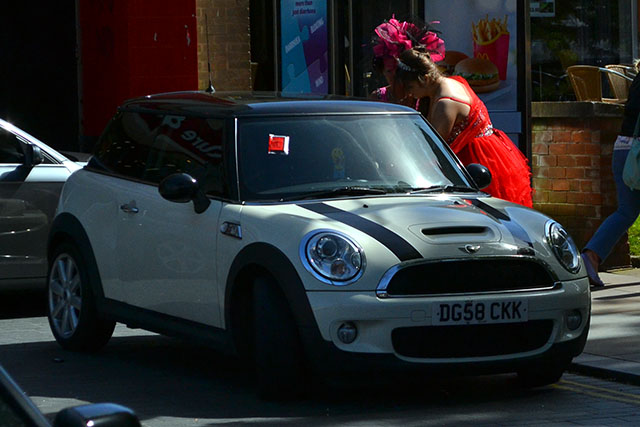 """Guests attending a """"Gypsy"""" wedding at the Town Hall parked their cars illegally on Lord Street and on the pavement this afternoon.Several of the vehicles were untaxed as well according to the DVLA checker. None of the guests seemed bothered about the fines."""