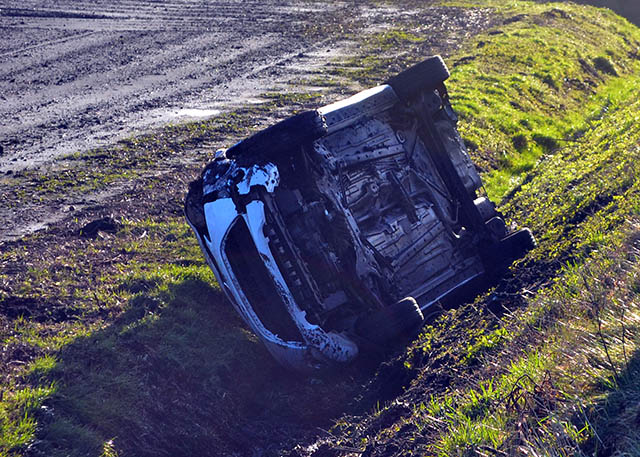 Yet another car has ended up in a ditch on Wyke Lane,Scarisbrick.The accident occurred during the night and the driver escaped without injury.    The Lane was closed by Police while the car was recovered.