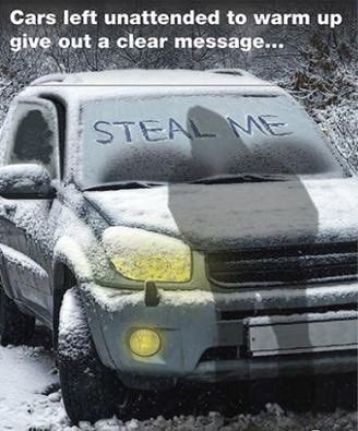 Police are warning that vehicles left unattended with the engine running to defrost on an icy morning are an easy target for thieves.