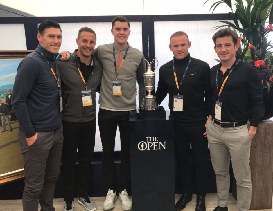 Wayne Rooney and his new Everton team mates were at The Open at Royal Birkdale yesterday to see the dramatic end to the final days play.    The players got the chance to pose with the famous Claret Jug.    (L-R) Gareth Barry, Phil Jagielka, Michael Keane, Wayne Rooney and Leighton Baines
