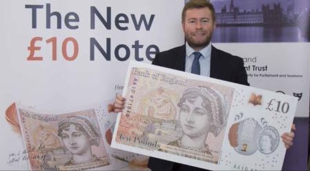 Local MP Damien Moore joined the Bank of EnglandÂ's Chief Cashier, Victoria Cleland, in Parliament on 19 July to find out more about the new £10 note featuring the world-renowned author Jane Austen.          Damien tested the new tactile feature on the £10 note which helps blind and vision impaired...
