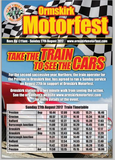 Northern have agreed to run a one off train service for Motorfest - great news for Ormskirk and West Lancs residents who'll be able to travel northbound by train on 27 August and not just to/via Liverpool using Merseyrail.     And now Alan Fantom from OPSTA* is hoping for a good public response...