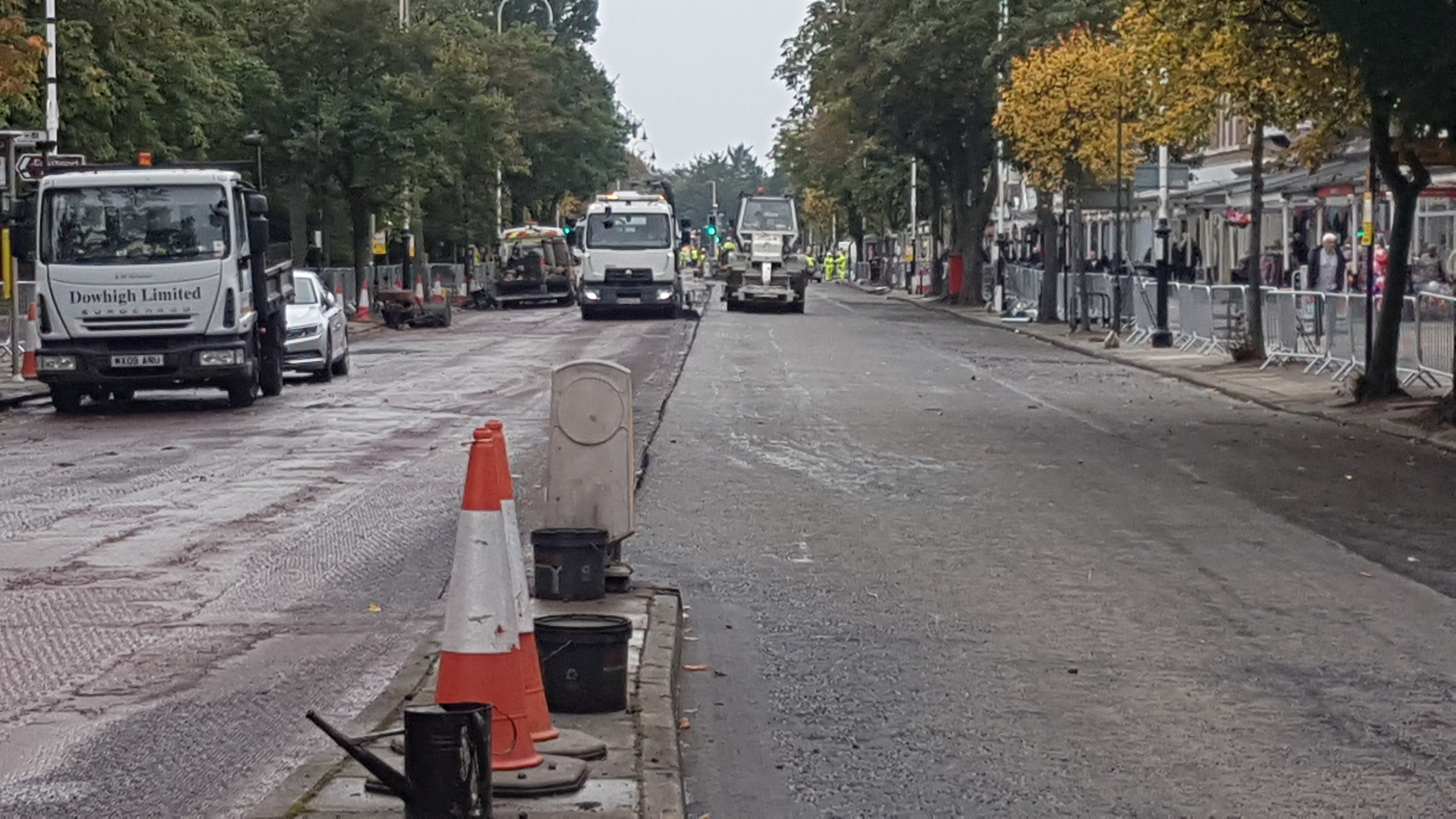 The first section of black tarmac has been laid on Lord Street today. After being red for generations and part of the towns heritage Sefton Council have not listened to local Councillors who wanted it to stay red.    The works are expected to take up to six weeks to complete.