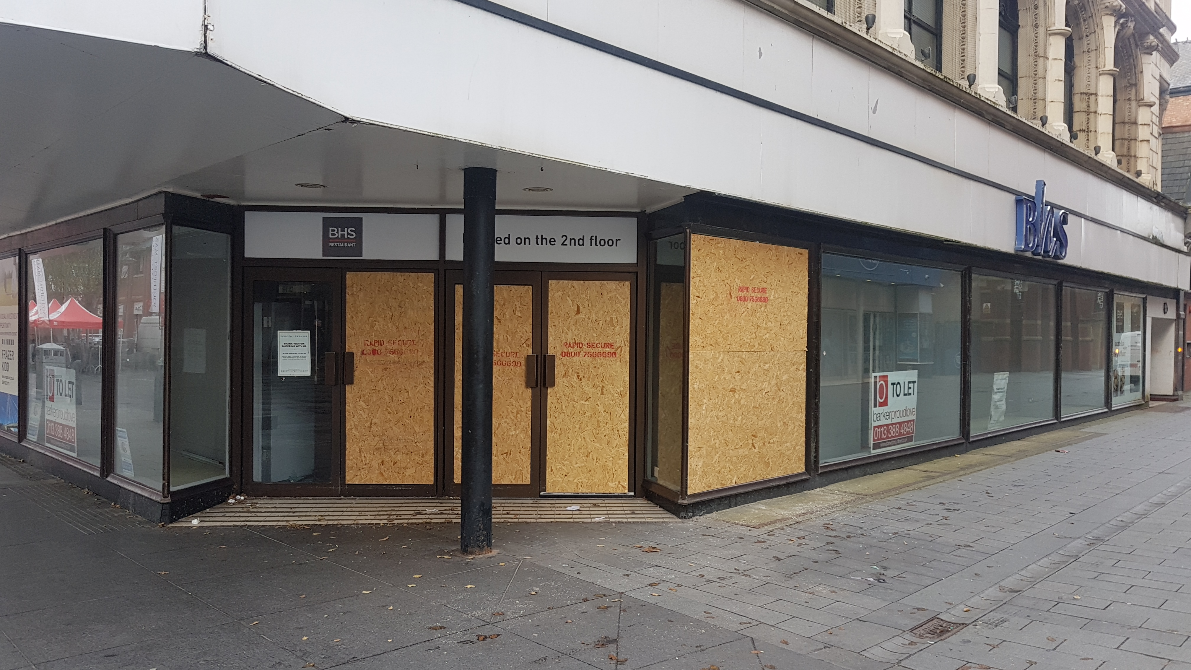 In a night of senseless vandalism The Atkinson,Brighouses and BHS all have windows smashed by a gang of youths rampaging around the town centre.    According to a witness about 40 teenagers including girls were running around smashing windows last night.Police did not catch any of them.    Anyone...