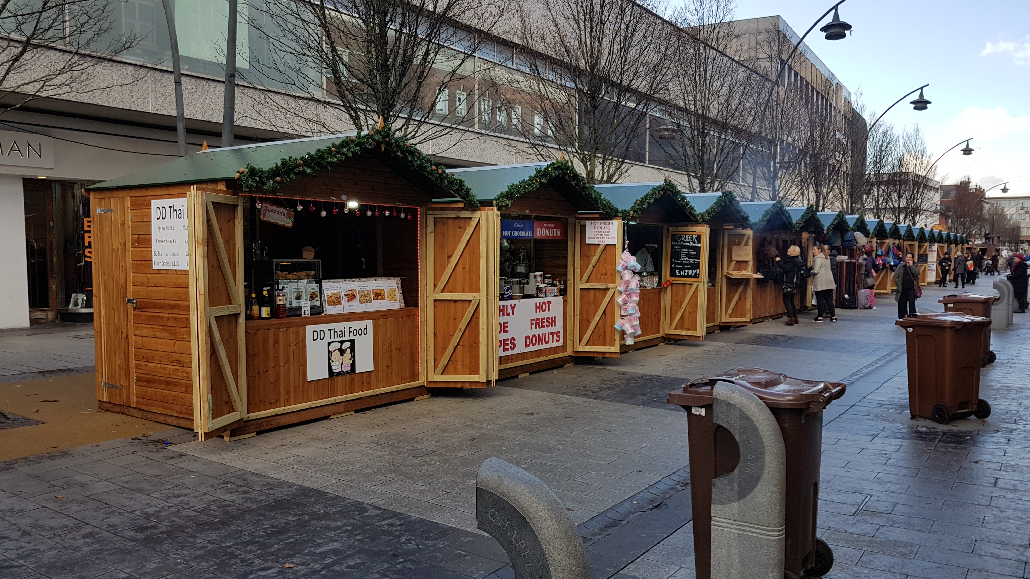 The Christmas Market Chalets are now open on Chapel Street.There does not seem to be as many this year and according to the Southport Christmas Market Facebook page there is still availability.    BEFORE IT IS TOO LATE book your Christmas Market stall - last minute availability!  Double stall...