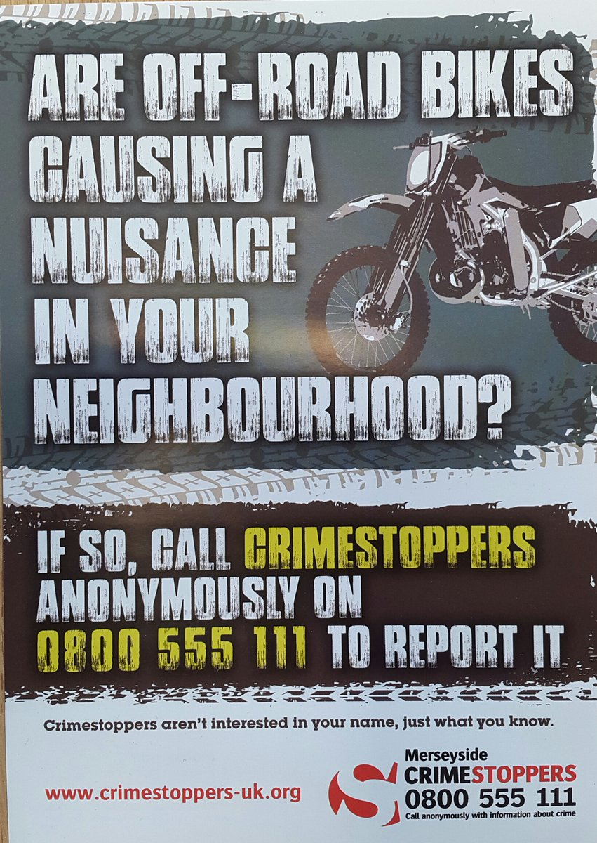 Officers from Southport Community Policing Team were in the Kew area of Southport yesterday (Friday 16th Feb), responding to reports of off-road motorcycles being used illegally in the area.     They will be delivering these leaflets into specific areas.