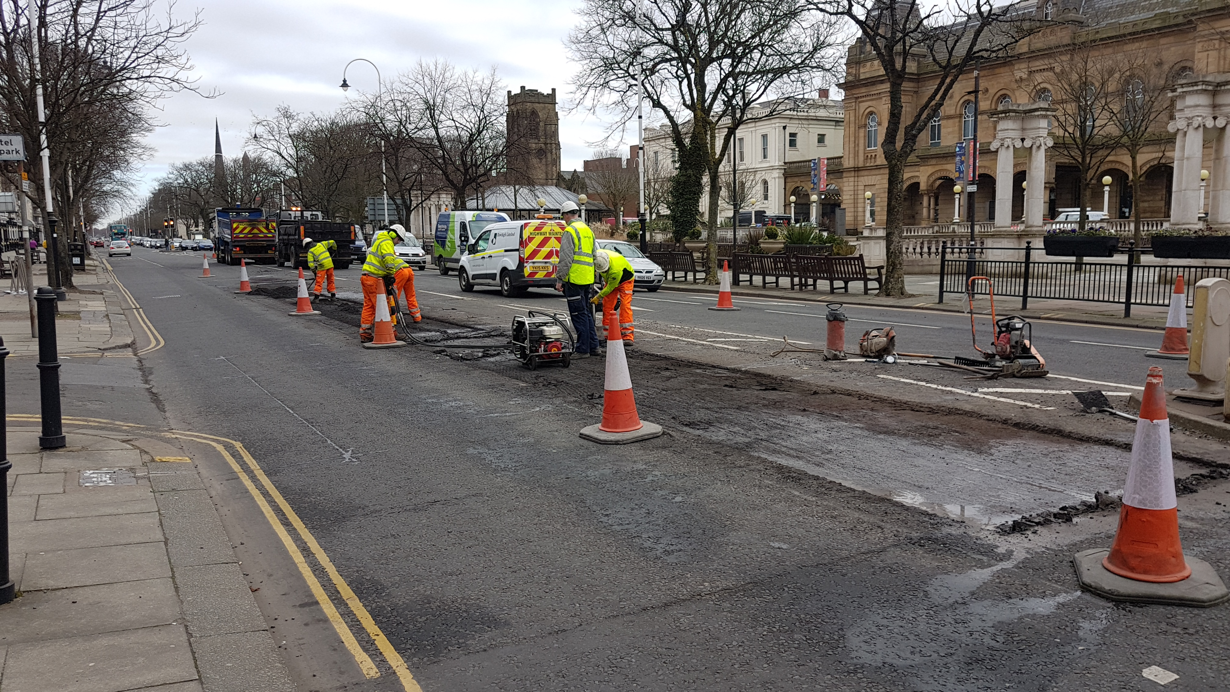 Qlocal gets results! Just months after the surface was replaced Qlocal was the first to report that pot holes were forming close to the Eastbank Street junction.    Contractors have today started to dig up and replace the damaged area.    There are slight delays as one lane of traffic is closed.