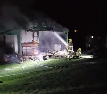 Merseyside Fire and Rescue service were called to Bedford Park last night after reports of a large fire.    They arrived to find the old sports pavilion well alight. The building was totally destroyed in the blaze. Arson is suspected as a group of youths were seen in the vicinity before the fire...
