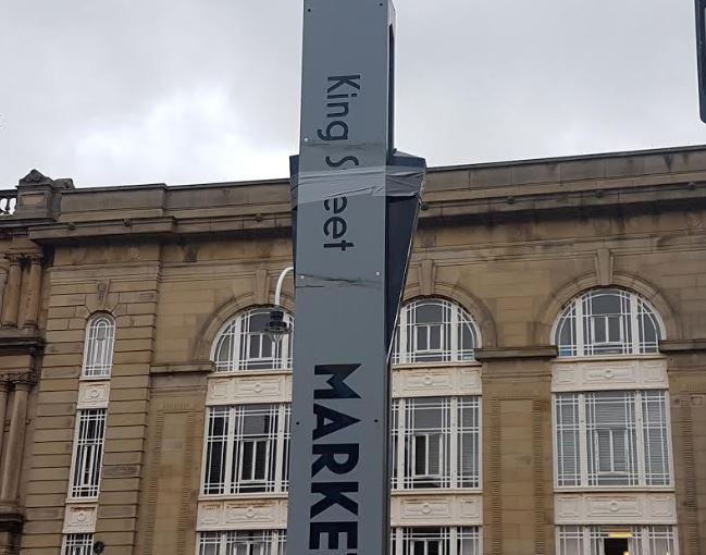 It would appear we were a little hasty last week in reporting that the 'Market Quarter' sign on King Street had been fixed after three years.    All that appears to have been done is the black gaffa tape has been replaced with grey gaffa tape.    Local Councillors have been approached for comment....