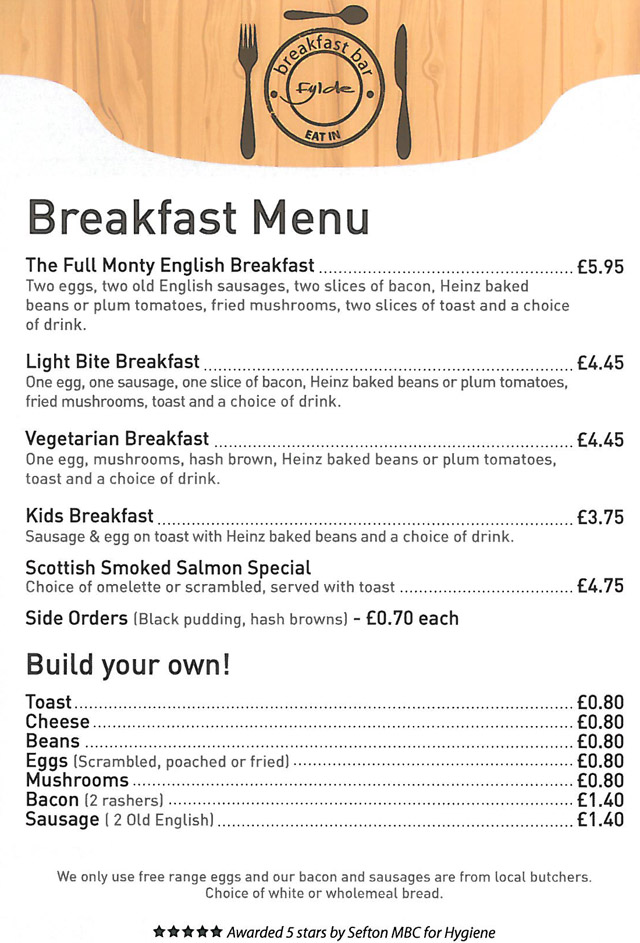 Fylde Fish Bar Launch New Breakfast Menu