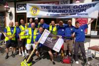 They set off from Widnes at 6.20 am and arrived in Southport at 2.20 pm outside Leo's Bar.The walk was to raise money for their friend Mark Gorry who died from testicular cancer in 2009.            Some sore feet.    Todays walk raised almost £5000.