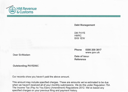 HMRC PAYE & NIC Debt Management Letter