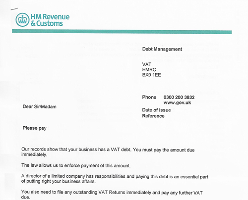 HMRC VAT Debt Management Letter